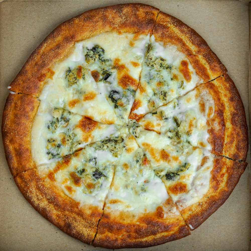 Spinach and Alfredo White Pizza