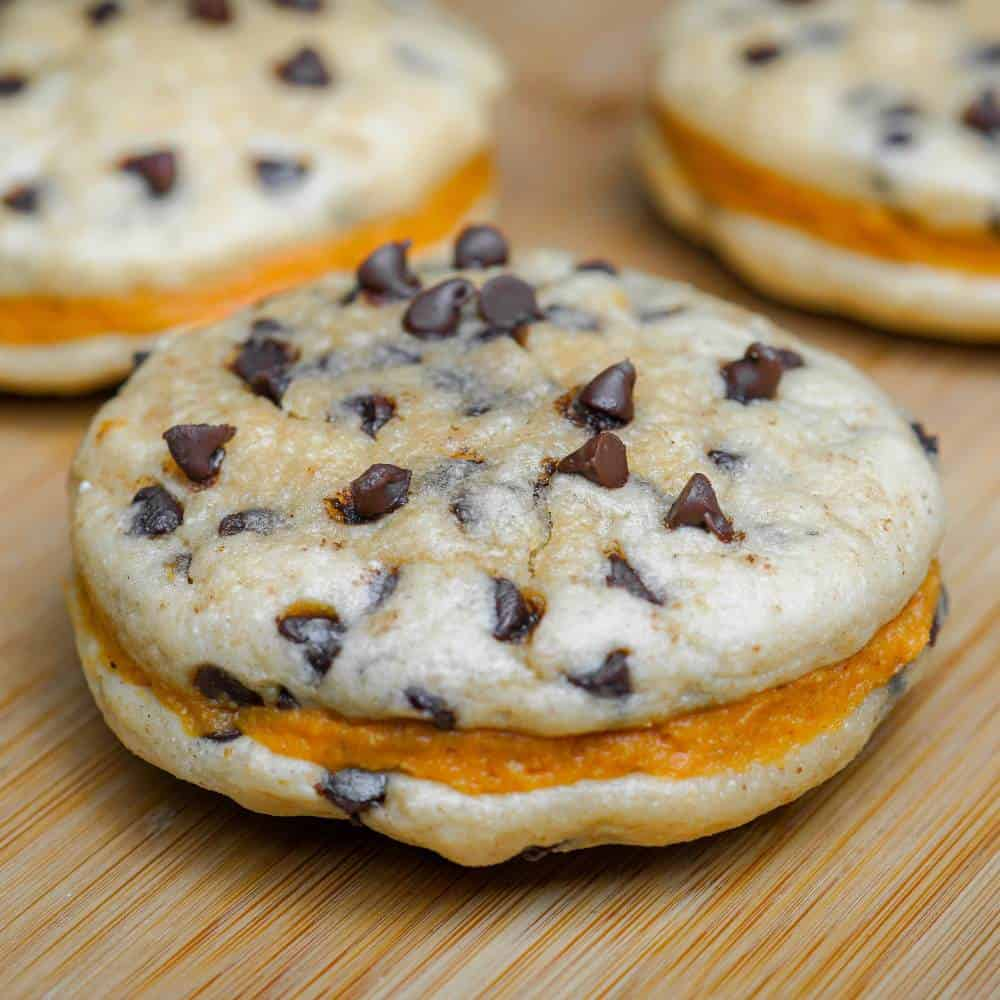 Protein Chocolate Chip Cookie Sandwich w/Protein Pumpkin Frosting Filling
