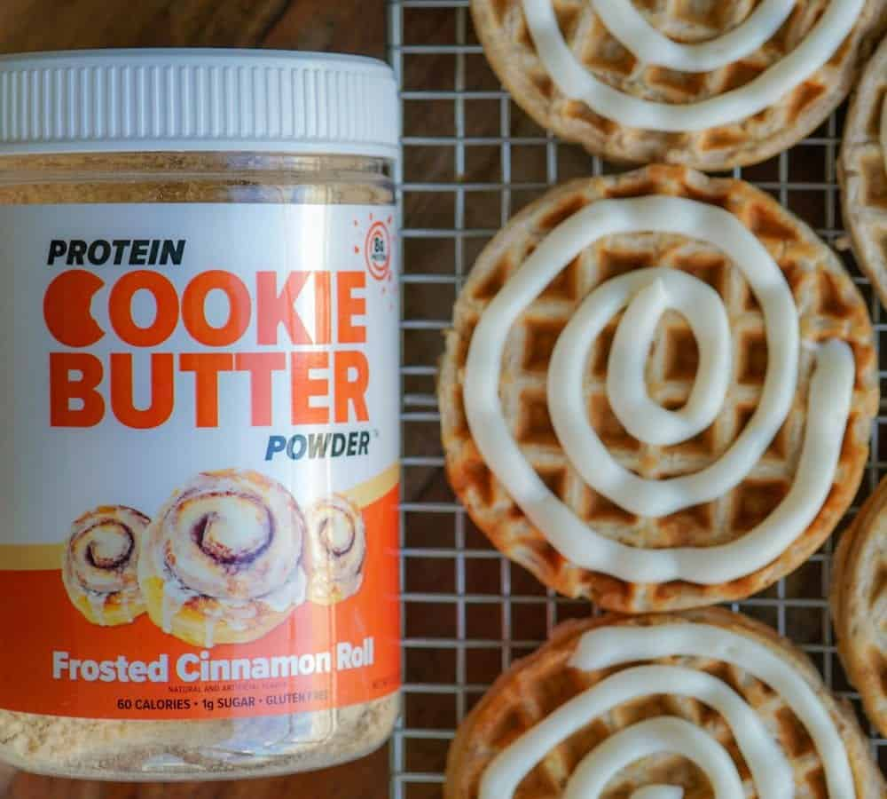 Frosted Cinnamon Roll Protein Waffles