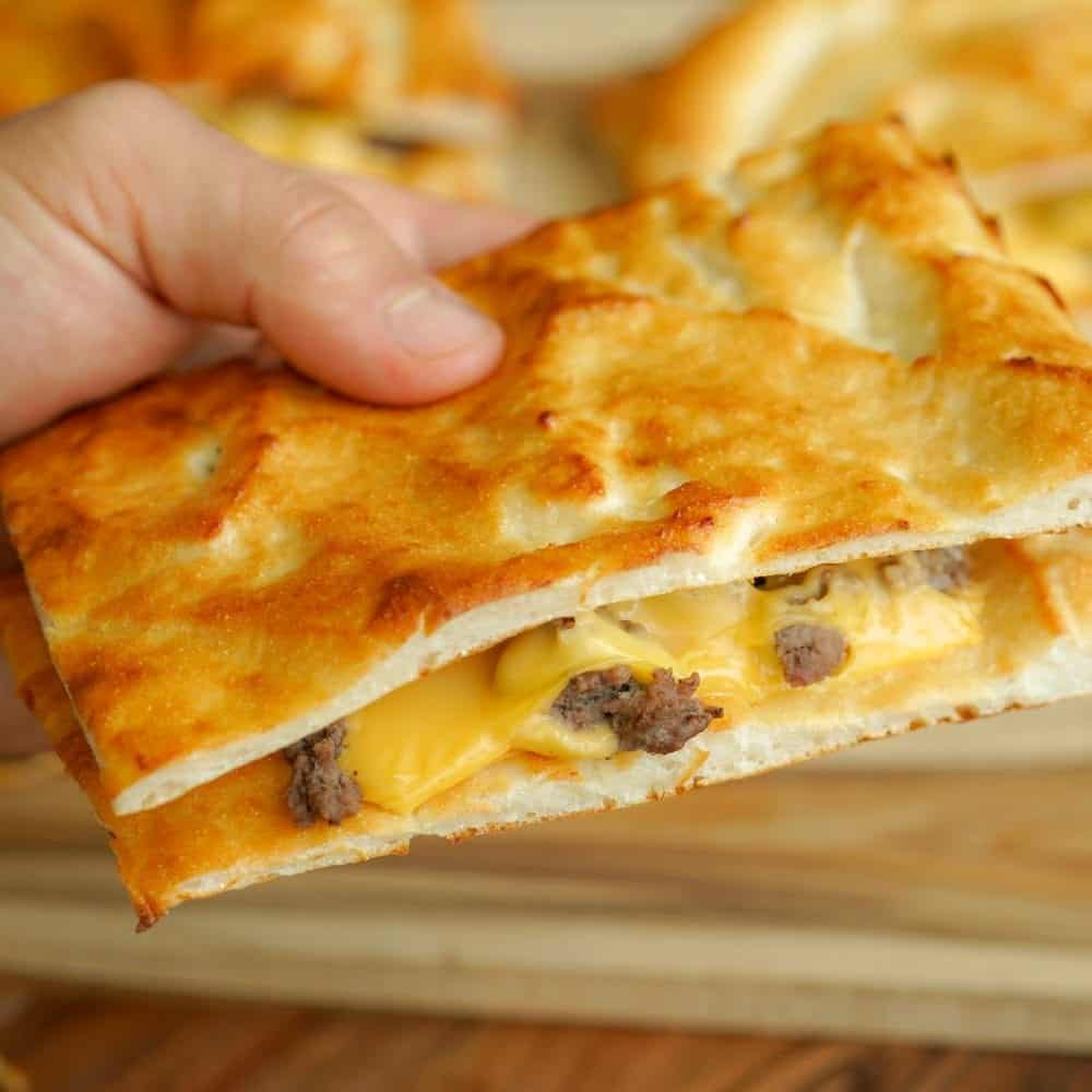 Cheeseburger Grilled Cheese with Homemade Flatbread