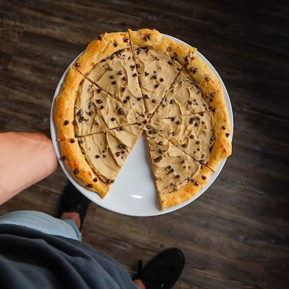 Dairy Free Chocolate Chip Cookie Dough Protein Dessert Pizza